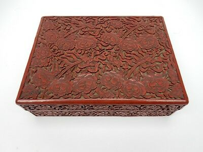 Antique Chinese Cinnabar Box 4 character Signed 7 inches