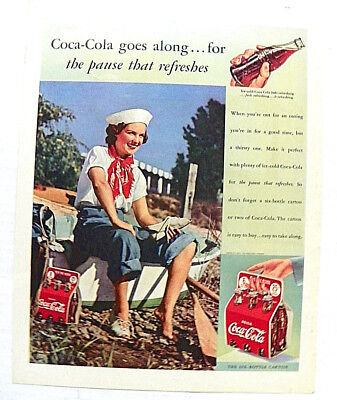 """1939,SEPT. McCALL'S MAGAZINE """"COCA-COLA GOES ALONG..."""" GIRL IN SAILING OUTFIT"""