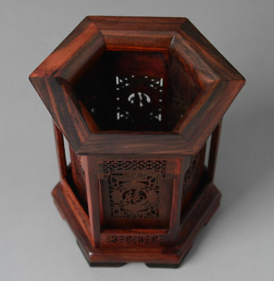 Chinese Hexagon Shape Rosewood Hollow Out Hand Carved FU Character Brush Pot