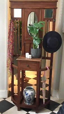 Freestanding hat, umbrella and cane hall stand with glove box