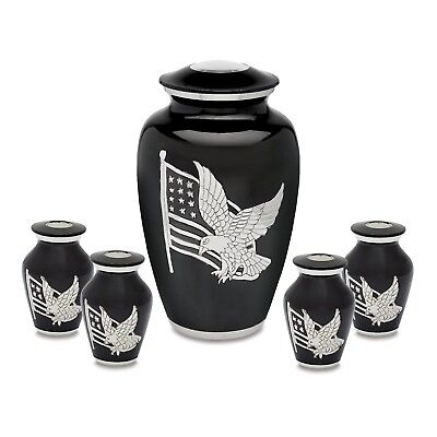 Black and Silver American Pride Adult Cremation Urn with 4 matching tokens