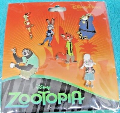 Disney Parks ZOOTOPIA 6 pin set Nick Judy Flash Bellwether Giselle Clawhauser