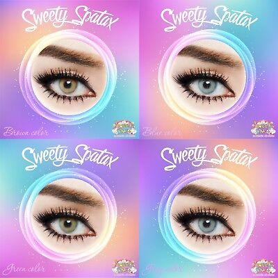Sweety Plus Spatax* Color Contact Lenses*green,gray,green,blue* 3Month * Plano *