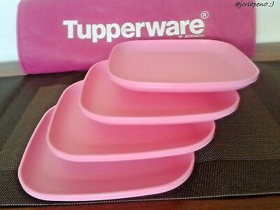 Tupperware 4 Square Plates Classic Pink Plates Raised Edges Free Shipping New & TUPPERWARE Free Shipping New 4 Dishes Square Classic Plates Raised ...