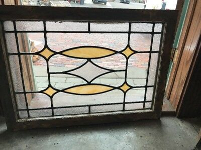 Sg 1962 Antique Textured Glass Leaded Glass Transom Window 24.25 X 34