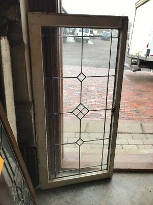 Sg 1963 Antique Leaded Glass Beveled Glass Transom Window 21.5 X 44.5