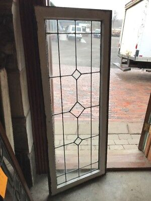 Sg 1964 Antique Leaded And Beveled Glass Transom Window 20.75 X 52.75