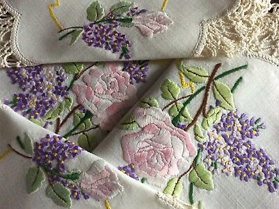 Stunning Set 3 Vintage Linen Hand Embroidered Table Mats ~ Pink Roses & Lilacs