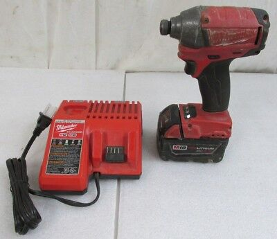 """Milwaukee M18 Fuel 1/4"""" Brushless Impact Driver 2653-20 Li-Ion Battery/Charger"""