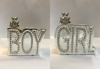 Silver Diamante Plated Baby Boy Baby Girl Money Box Piggy Bank Christening Gift