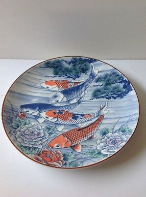 Koi fish plate/charger, North American Trading Company, Made in Japan, 5 Koi