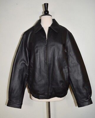 712d1acde CROFT & BARROW Leather Bomber Coat Jacket Quilted Lining Black Men's Size M
