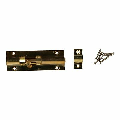"3"" Brass Door Bolt Security Door Slide Dead Lock Catch Latch Shed Bathroom"