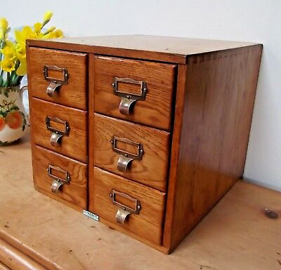 Super Quality Vintage Golden Oak Libraco 6-Drawer Index Card Desk Filing Cabinet