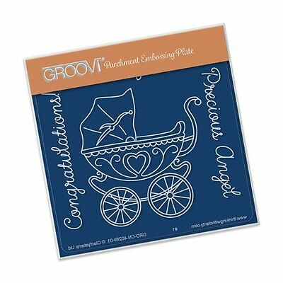 CLARITY STAMP GROOVI BABY A6 Parchment Embossing Plate PRAM GRO-CN-40289-01