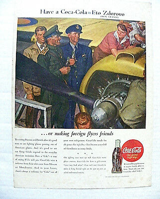 "1944,july31 Life Mag. ""have A Coca-Cola = Eto Zdorov"" Foreign Flyers Friends"