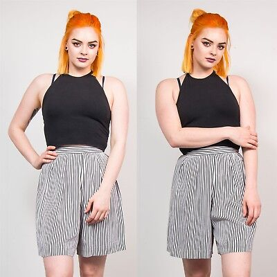 Womens 90's Black & White Striped Vintage Culottes Shorts Casual High Waist 6