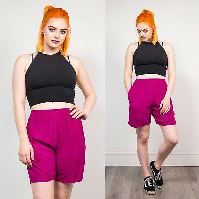 Womens Vintage Dark Purple 90's Style Culottes Shorts High Waisted Casual 10