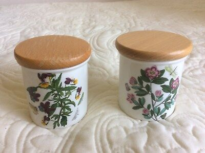 "2 Portmerion Spice Jars with lids Botanic Garden Pattern 3"" high Used"
