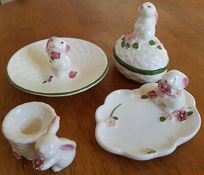 VTG 1980's Avon Bunny Easter Spring 4 lot collection trinket box candle dish