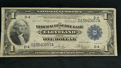 "1918 $1 ""Green Eagle!"" *FEDERAL RESERVE BANK OF CLEVELAND* One Dollar Large Note"