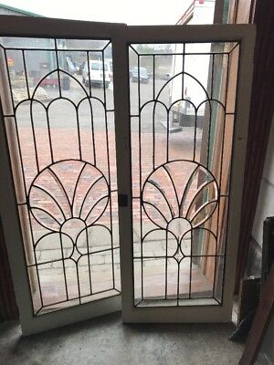 Sg 1973 Two Available Price Each Leaded Beveled Cabinet Door 20 X 50