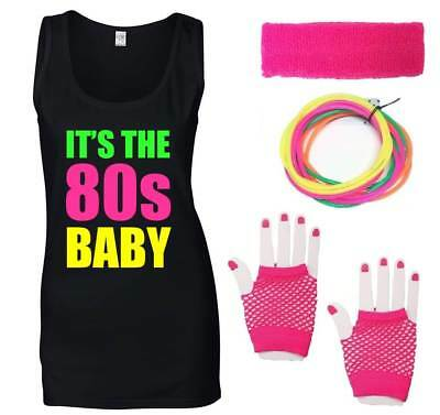 IT'S THE 80s BABY Ladies Vest & Accessories Fancy Dress Costume Outfit Neon 80's