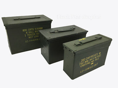 Ammo Can Set: 50 Cal, Fat 50 Saw Box, 30 Cal, Empty