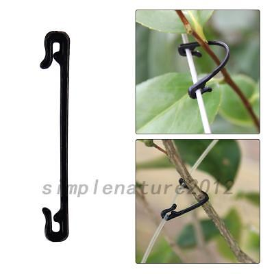 100pcs Garden Plastic Ties Tree Climbing Support Plant Greenhouse Cable Black