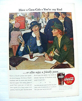 "1944,sept.18 Life Mag. ""have A Coca-Cola = You're My Kind"" Female Soldier Allies"