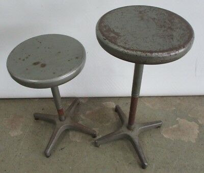 2 Vintage 1950's Ajustrite Industrial Stools Adjustable Ht Telescoping Chair Sto