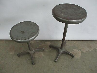 Pair Of (2) Vintage 1950's Ajustrite Industrial Stools Adjustable Ht Telescoping