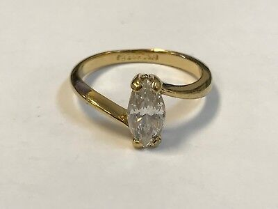 Vintage 18KT HGE CZ Glass Marquise Solitaire Ring Sz 7.75