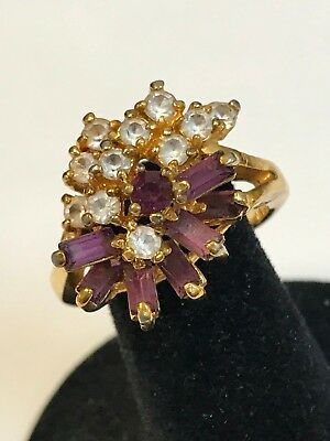 Beautiful 18K GE Yellow Gold Clear & Purple CZ Stone Cluster Ring Sz 6