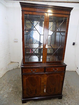 reproduction,mahogany,bookcase,glazed doors,drawers,cupboard,antique,style