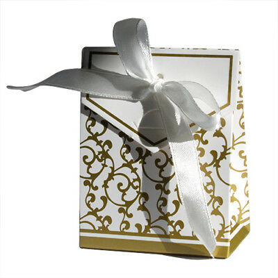 Wedding Favour boxes  Silver or Gold  With White Ribbon  pack of 50 or 100