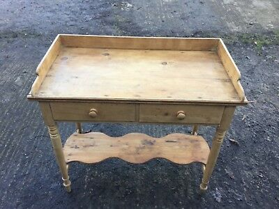 Antique Pine Washstand With Galleried Back