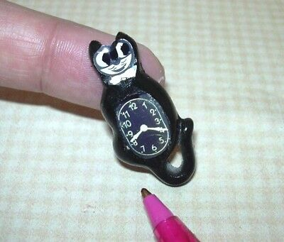 Miniature 60's-Style Black Cat Clock w/Paper Face(s): DOLLHOUSE 1:12