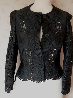 STUNNING Stella McCartney GREY BRODERIE ANGLAISE FITTED JACKET Size IT36 UK 6