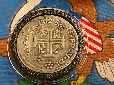 Extremely Rare 1812 8 Reales Oaxaca Silver Cross Castle Lions Shield km#168 Coin