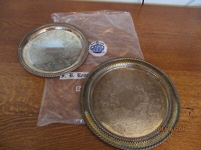 Vintage Wm Rogers Silver Plate Serving Platters Trays 2 lot 12 and 10 in Antique