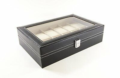 LARGE 20 Grid Watch Box Glass Top Display Jewelry Organizer Storage