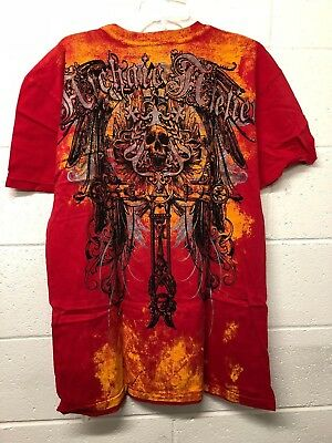 NWT Archaic By AFFLICTION Red ALUMINIM T-shirt Skull MMA Cross LARGE