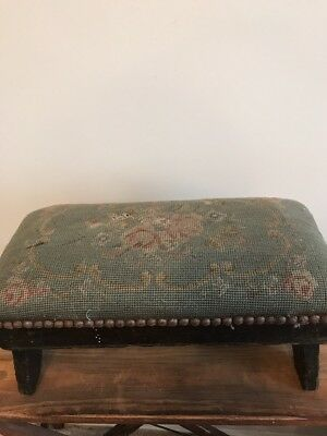 Antique Victorian  Wood Needlepoint Foot Stool Ottoman Nailhead