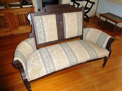 Antique Victorian Eastlake Carved Walnut Parlor Settee Sturdy Recovered Nice
