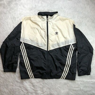ADIDAS ORIGINALS WINDBREAKER BLACK WHITE HOODED JACKET Vintage XL FLAWED (M9)