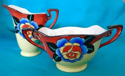 Noritake Luster Sugar and Creamer Dramatic Art Deco Floral! Excellent Condition!