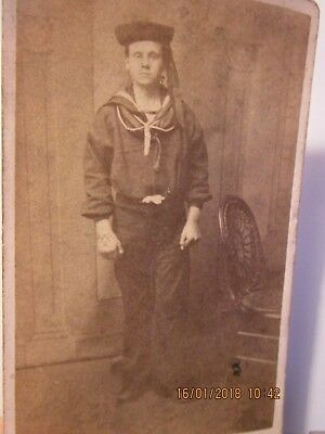 Victorian / 19th C. photo of Royal Navy Sailor with black boater hat. R.N.Seaman