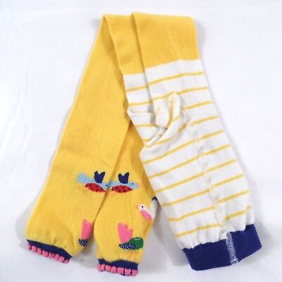 Hanna Andersson Footless Tights Yellow Knit w/ Birds 110