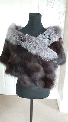 Silver Fox Stole Wrap Shawl Cape Scarf Bolero Jacket Real Fur not mink